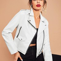 White Pleather Moto Jacket
