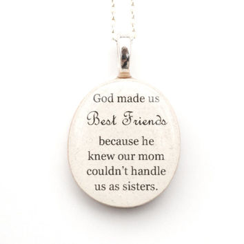Best friend necklace friendship necklace going away gift gift for her Christmas gift quote necklace personalized jewelry graduation gift