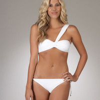 Luxe by Lisa Vogel   Bandeau Swimsuit   White Two Piece Bathing Suit