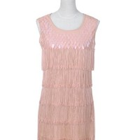 Anna-Kaci Sequin Fringed Sleeveless Solid color 1920s Flapper Party Dress