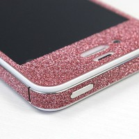 Nice Red Cool Shiny Rhinestone Full Body Cover Skin Sticker Shield For iPhone 4S/5