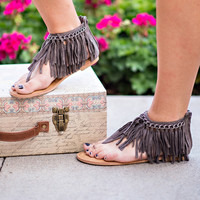 Let's Keep The Peace Suede Fringe Sandals (Grey)