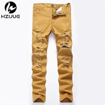 Ripped Jeans Men With Holes zipper Skinny Designer Slim Fit Destroyed Torn Jean Pants For Male