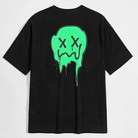 Fashion Casual Men Ghost Print Tee