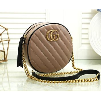 Gucci Trending Popular Women Leather Multicolor Circular Satchel Crossbody Shoulder Bag Khaki