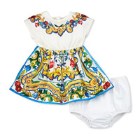 Dolce & Gabbana Cap-Sleeve Floral Majolica Combo Dress, White, Size 3-24 Months