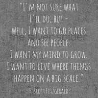 F Scott Fitzgerald - I Want to Live Where Things Happen on a Big Scale - Quotation Art Print - 8.5x11 Chevron
