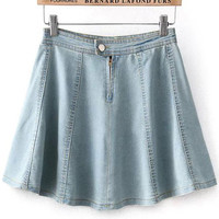 Light Blue High Waist Denim Mini Skater Skirt