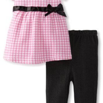 Bon Bebe Baby-Girls Newborn Ribbon and Bow Top with Elastic Waist Jegging Pant, Pink/Black Houndstooth, 3-6 Months