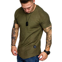 Shoulder Pleated Design Round Neck Short-Sleeved T-Shirt