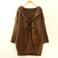 Brown Buckle Button Loose Hooded Cardigan