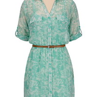floral print belted chiffon shirtdress