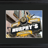 NHL Pub Print in Wood Frame - Bruins