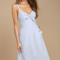 Ain't No Other Light Blue Chambray Midi Dress