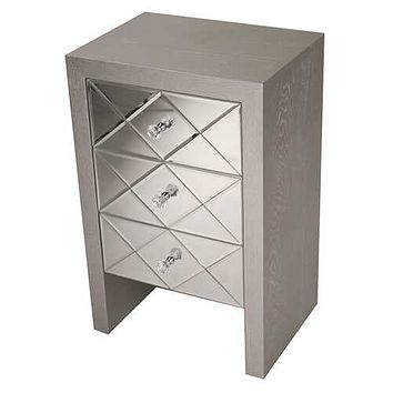 """17.7"""" X 13"""" X 28"""" Silver MDF Wood Mirrored Glass Accent Cabinet with Mirrored Glass Drawers"""