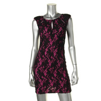 Mika & Gala Womens Lace Cut-Out Clubwear Dress