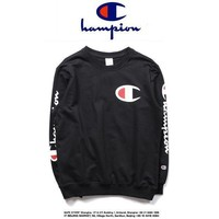 Champion Casual Round Neck Letters Long Sleeve Letters Sweater