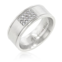 Stainless Steel Pave 15-stone Men's Ring, size : 12