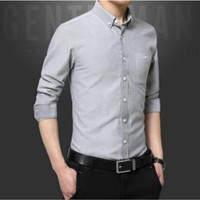 Mens Long Sleeve Classic Button Down Shirt in Gray