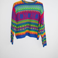 Vintage 90s Cotton Bright Colorful Sweater Womens
