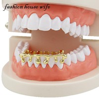 Fashion House Wife Gold Teeth Grillz Hip Hop Teeth Drip Grillz Dental  Custom Fit Tooth Caps Cosplay Jewelry Party LD0108