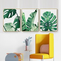 Nordic Canvas Painting Green Leaf Wall Art Home Decor Picture DIY Green Plant Lotus Banana Leaf Poster Living Room Bedroom Decor