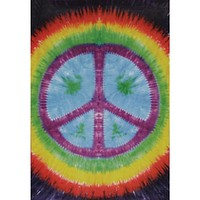 Rainbow Peace Sign Tie Dye Tapestry