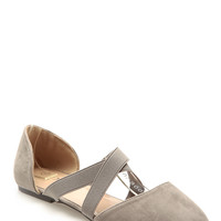 Taupe Faux Suede Criss Cross Flats