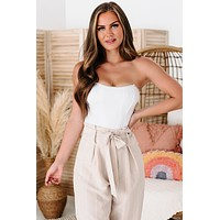 Fortune & Fame Beaded Trim Corset Top (White)