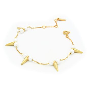 """Fronay Co Bullets & Pearls Gold Plated Sterling Silver Bracelet for Women, 6"""" + 2"""""""