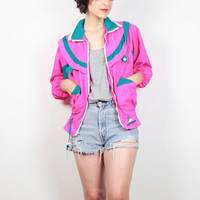 Vintage 80s Neon Pink Windbreaker Jacket Teal Green White Sporty Bomber Jacket 1980s Athletic Track Jacket Warm Up Jacket XS S Extra Small