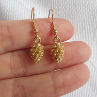 Gold  Tiny Leaf Pine Cone Earrings  And Gold Plated Ear Hooks