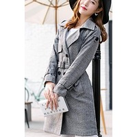 Womens Gray Mid Length Double Breasted Trench Coat