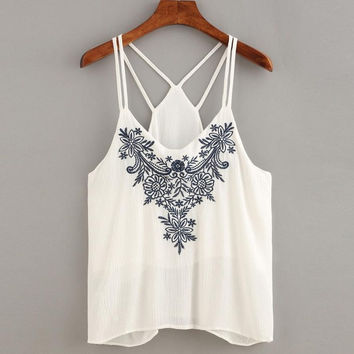 women top sleeveless Tank Tops Flower Embroidered Cotton Blend Strappy White Cami Tops Female cropped #25 SM6