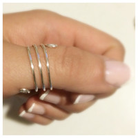 Wrap Around Thumb Ring, Silver Plated, Adjustable Wire