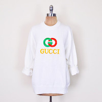 Vintage 80s 90s White Gucci Sweater Jumper Top Gucci Logo GG Logo Oversize Sweater Slouchy Sweater Hipster Sweater Hip Hop Sweater S M L Xl