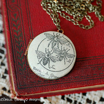 Honeybees Locket Necklace, Vintage Dictionary Illustration - Brass Chain - Ready to Ship