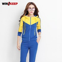 Women Outdoor Sportswear Hooded Sweatshirt Conjunto Mujer Colors Mixed Sweatpants Sports Suits Exercise Jogging Female Tracksuit