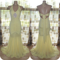 Vintage 90s Cache Yellow Rhinestone Crested Ruched Mermaid Gown Hourglass Bandage Halter Dress Sz 4