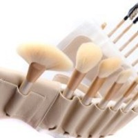 BOSTON WORLD 18 PCS Peach Color Makeup Brush Set With Free High Quality Tan Color Pouch