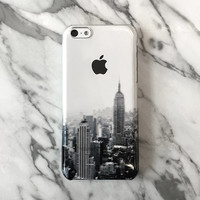 New York cityscape iPhone 6 case, iPhone 6s case, clear transparent case, iPhone 5s case, iPhone 5C cover, black grey, Christmas gift C056