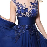 Sunvary Royal Blue Emrboidery Chiffon Dance Pageant Prom Dresses - US Size 2- Royal Blue