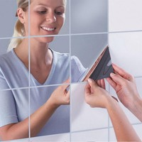 16pcs 15 X 15cm Squares Mirror Wall Sticker Tile Silver Home Decorative Surface Waterproof Self-adhesive Bathroom Mirror Decal