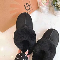 "Hot Sale ""UGG"" Winter Ladies Men Warm Flat Snow Ankle Slipper Shoes Wool Boots Black"
