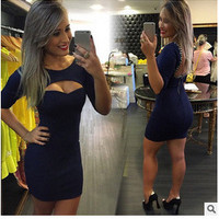 Women Backless Round Necked Solid Sexy Erotic  One Piece Dress