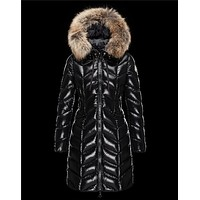 Moncler BELLOY Turtleneck Fur-Trimmed Hood Black Coats Nylon/Polyamide Womens 41461298