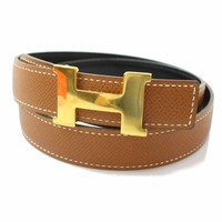 Authentic Hermes Belt Mini Constance Goldtone Black X Brown 371480