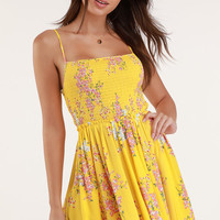 Fairytale Bliss Yellow Floral Print Skater Dress