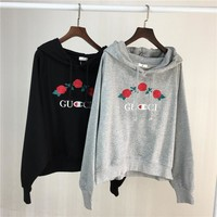 gucci x champion women fashion embroidery rose flower top sweater pullover hoodie-1