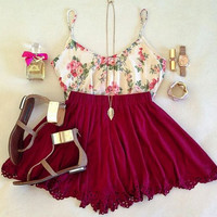 Print Lace Sling Dress Two-Piece